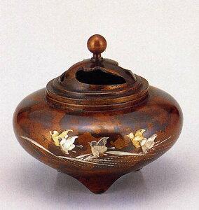 送料無料 彫金シリーズ 香炉 平型 波千鳥 床の間 置物 仏具 銅 ブロンズ