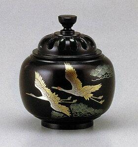 送料無料 香炉 蒔絵 玉胴型 双鶴 床の間 置物 仏具 銅 ブロンズ