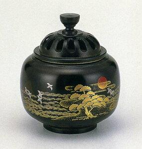 送料無料 香炉 蒔絵 玉胴型 日ノ出松 床の間 置物 仏具 銅 ブロンズ