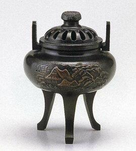 送料無料 香炉 菊蓋山水 床の間 置物 仏具 銅 ブロンズ