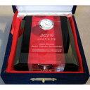 名入れ時計付き楯クリスタルホワイトアンドブラック 退職祝い 退職記念品 卒団記念品 表彰楯 ゴルフ大会記念品