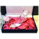 名入れガラスの靴クリスタル赤布化粧箱入  誕生日プレゼントプロポーズ記念品結婚記念品シンデレラの靴ホワイトデー