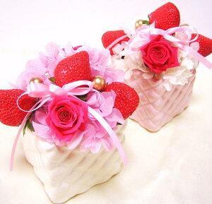 プリザーブドフラワー 誕生日 イチゴのショートケーキ フラワーケーキ 誕生日の花 花 フラワーギフト ストロベリー プレゼント 誕生日プレゼント 送別 退職祝 バースデーフラワー 記念 安