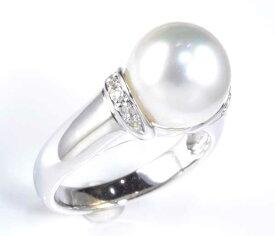 K14WG 南洋真珠 10.0mmダイヤ0.07ct ホワイトゴールド リング《送料無料!》