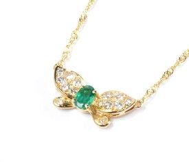 K18 エメラルド 1.08ctダイヤモンド 1.00ct 18金 プチネックレス《送料無料!》