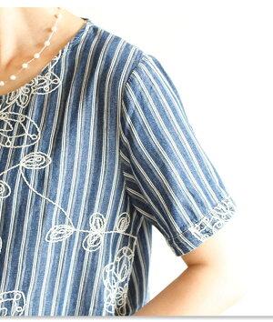 馴染む花模様のストライプシャツ【8月5日22時販売新作】