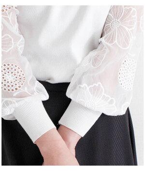 花模様シースルー袖のニットトップス【4月19日8時販売新作】