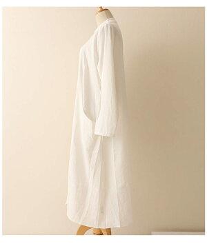 裾ラウンドカットのロングシャツワンピース【8月31日8時販売新作】
