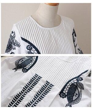 北欧風ボタニカル刺繍のチュニック【4月25日8時販売新作】