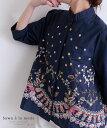 花刺繍 刺繍 シャツ トップス ブラウス 花柄 花刺繍のハイネックコットントップス レディース ファッション トップス …