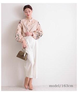 ボタニカル刺繍袖のコットントップス【5月13日8時販売新作】