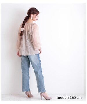 透け感ある花柄刺繍の長袖ブラウス【7月29日8時販売新作】