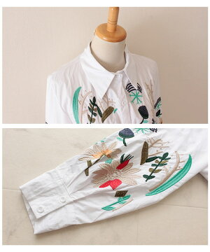 ボタニカル刺繍のAラインコットンシャツ【9月23日8時販売新作】