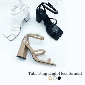 韓国 ファッション Play shoes サンダル たび タビ 足袋 トング ハイヒール チャンキーヒール ストラップ ベージュ ブラック 黒 ホワイト 白 ベージュ レディース