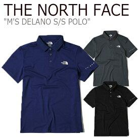 ノースフェイス ポロシャツ THE NORTH FACE メンズ M'S DELANO S/S POLO デラノ ショートスリーブ ポロ BLUE GRAM BLACK ブルー グレー ブラック NT7PK04J/K/L ウェア 【中古】未使用品