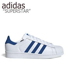 アディダス スーパースター スニーカー adidas メンズ レディース SUPERSTAR スーパースター WHITE BLUE ホワイト ブルー EE8595 シューズ 【中古】未使用品