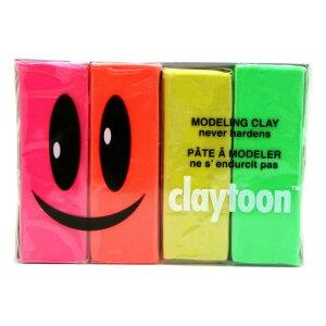 MODELING CLAY(モデリングクレイ) claytoon(クレイトーン) カラー油粘土 4色組(ネオン) 1Pound 3個セット【送料無料】