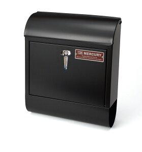送料無料 MURCURY MAIL BOX マーキュリー メールボックス アメリカン おしゃれメールボックス ポスト 郵便受け 鍵付き ハンドルロック ブラック