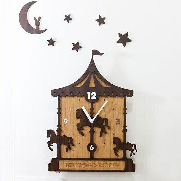 掛け 掛時計 時計 木製 木 大型 楽しい 人気 リビング ロビー 店舗 イラスト 医院 待合室 新築祝い 転居祝い 引越し 開店祝い ドリームクロック「MERRY-GO-ROUND」 (TO-merry)【10P01Oct16】
