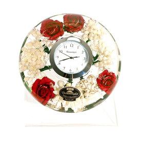 【ポイントアップ中&割引クーポン配布中】置き時計 ドイツ製 花のガラス時計 ギフト 贈り物 CDD7245 バラ (IK-CDD7245)