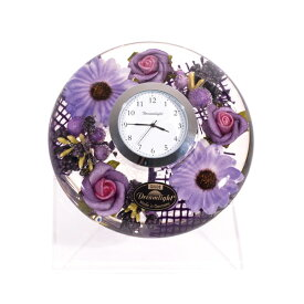 置き時計 ドイツ製 花のガラス時計 ギフト 贈り物 CDD7279 パープル (IK-CDD7279)
