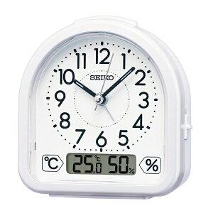 セイコー(SEIKO) 目覚まし時計 スイープ秒針 温度計 湿度計 白パール KR512W (検) おしゃれ 目覚し時計 子供 大音量 デジタル アナログ 電波