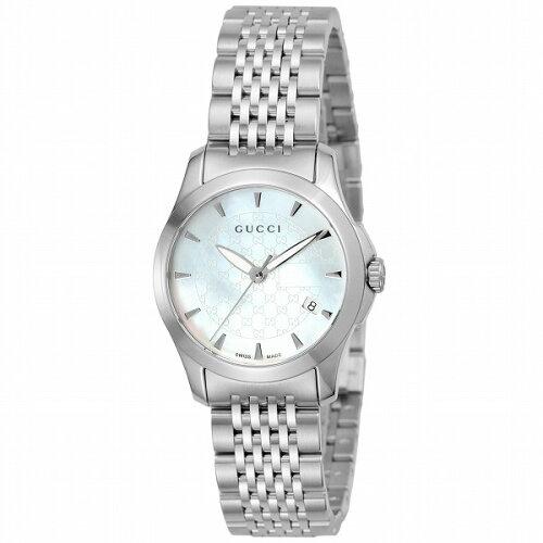 GUCCI(グッチ)YA126533シルバー/ホワイト[クォーツ腕時計(レディースウオッチ)]