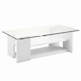 ガラステーブル おしゃれ センターテーブル ローテーブル 幅100 ホワイト 東谷 SO-100WH