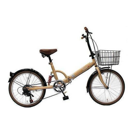 【送料無料】TOP ONE FS206LL-37-MO モカ [折りたたみ自転車(20インチ・6段変速)]【同梱配送不可】【代引き不可】【沖縄・北海道・離島配送不可】