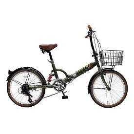 【送料無料】TOP ONE FS206LL-37-OL オリーブ [折りたたみ自転車(20インチ・6段変速)] 【同梱配送不可】【代引き・後払い決済不可】【沖縄・北海道・離島配送不可】