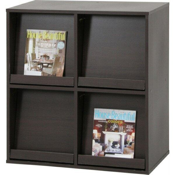 【送料無料】ディスプレイラック ラック キャビネット 本棚 木製 収納棚 シェルフ 2列2段 4マス 扉付き ブラウン