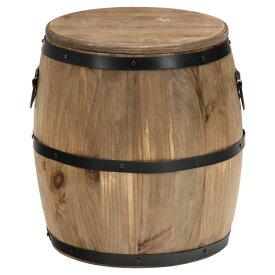 スツール 樽型 高さ30cm 天然木 収納 蓋付き ヴィンテージ ブラウン 不二貿易 31883