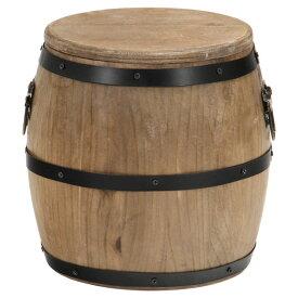 スツール 樽型 高さ24cm 天然木 収納 蓋付き ヴィンテージ ブラウン 不二貿易 31884