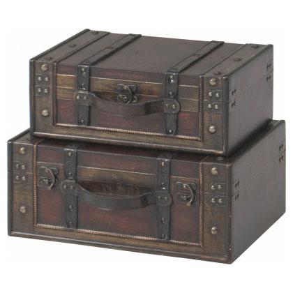 【送料無料】木製スーツケース型トランク2点 スーツケース トランク ブラン 宝箱 木箱 ウェルカムトランク アンティーク収納 収納ケース 収納ボックス レトロ 50798 不二貿易