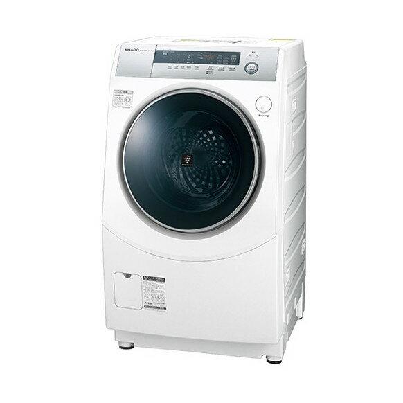 【送料無料】【標準設置無料】ドラム式洗濯乾燥機 シャープ(SHARP) プラズマクラスター ES-H10B-WL ホワイト系 左開き ななめ型 洗濯10kg 乾燥6kg 省エネ 節水 消臭 静か 低騒音 夜間や早朝でも安心 こすり洗い マイクロ高圧洗浄 ガンコな汚れ黄ばみに極め洗いコース