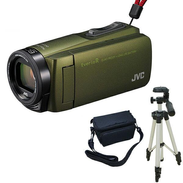 【送料無料】JVC (ビクター/VICTOR) GZ-R470-G (32GBビデオカメラ) + KA-1100 三脚&バッグ付きおすすめセット カーキ 長時間録画 Everio R(エブリオ) 旅行 卒業式 入学式 卒園 入園 結婚式 出産 成人式 小型 小さい