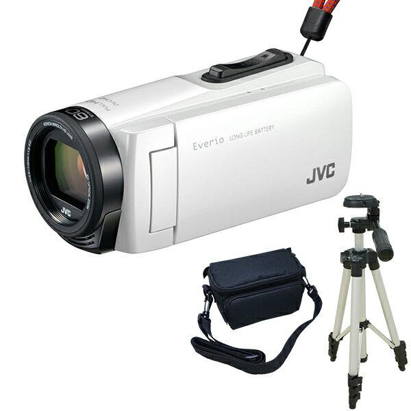 【送料無料】JVC (ビクター/VICTOR) ビデオカメラ 32GB 大容量バッテリー GZ-F270-W + KA-1100 三脚&バッグ付きおすすめセット ホワイト 長時間録画 Everio(エブリオ) 旅行 成人式 卒園 入園 卒業式 入学式に必要なもの 結婚式 出産 アウトドア 学芸会 小型 小さい
