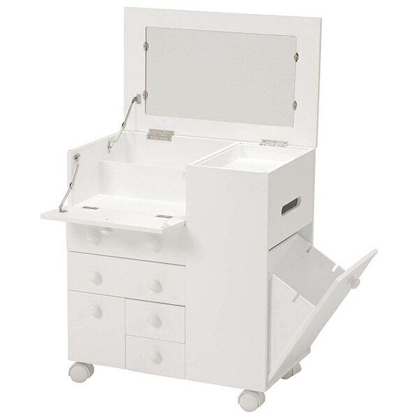 【送料無料】萩原 MUD-6649WH コスメワゴン コスメボックス ドレッサー メイク台 化粧品 収納 完成品 白 ホワイト