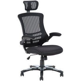 【送料無料】オフィスチェア パソコンチェア 可動式肘付き ロッキングチェア ヘッドレスト付き ブラック アームアップチェアー マスター