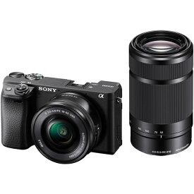 SONY ILCE-6400Y-B ダブルズームレンズキット ブラック α6400 [デジタル一眼カメラ (2420万画素)+(E PZ 16-50mm F3.5-5.6 OSS+E 55-210mm F4.5-6.3 OSS)]