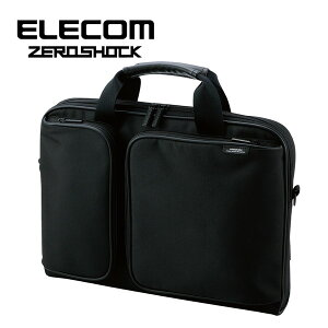 エレコム 衝撃吸収 パソコンバッグ ビジネスバッグ パソコンケース A4対応 2WAY(ショルダー/手提げ) 取っ手付き 薄型 収納サイズ(12.1/13.3インチ MacBook対応) ブラック(黒) ZEROSHOCK(ゼロショック) ZS