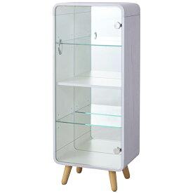 コレクションシェルフ コレクションケース おしゃれ ガラス 木製 鏡付き アクセサリー ホワイト 白 Lサイズ PT-612WW