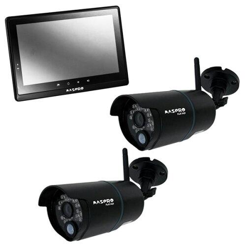 【送料無料】MASPROWHC10M2ブラック+対応カメラ2台セット[モニター&ワイヤレスフルHDカメラセット]