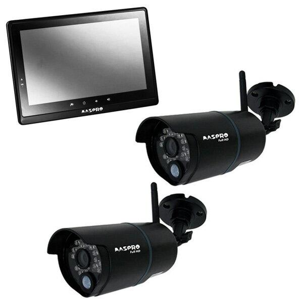 【送料無料】MASPRO WHC10M2 ブラック + 対応カメラ2台セット [モニター&ワイヤレスフルHDカメラセット]