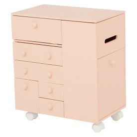 コスメワゴン コスメボックス ドレッサー メイク台 化粧品 収納 完成品 姫 ピンク シンプル 萩原 MUD-6649PI