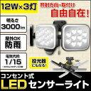 【送料無料】LEDセンサーライト ムサシ LED-AC3036 12W×3灯 RITEX ライテックス コン...