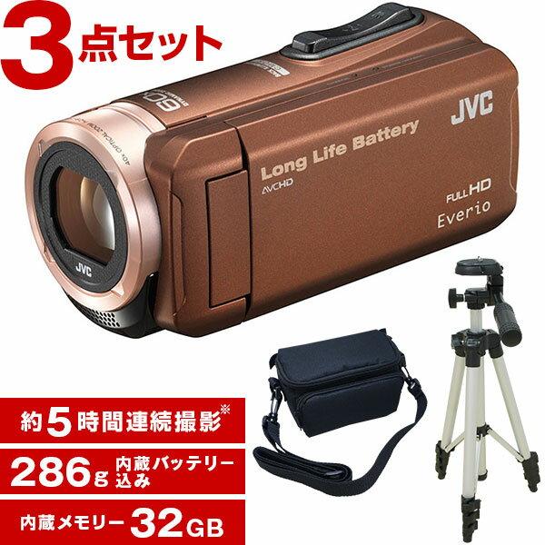 【送料無料】JVC (ビクター/VICTOR) 32GB ビデオカメラ 大容量バッテリー GZ-F100-T + KA-1100 三脚&バッグ付きおすすめセット 長時間録画 運動会 学芸会 結婚式 旅行 小さい タッチパネル フルハイビジョン おすすめ 人気