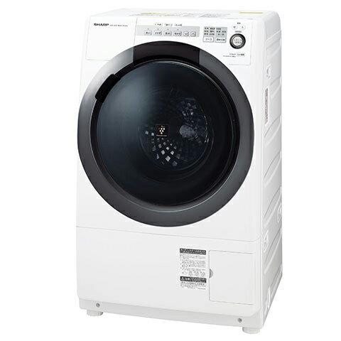 【送料無料】洗濯乾燥機 シャープ(SHARP) ES-S7C-WR ホワイト系 ななめ型ドラム式(洗濯7kg/乾燥3.5kg)右開き 一般的な防水パンに置けるコンパクトドラム 静かで省エネ インバーター制御 水で洗えない衣類もすっきり消臭 4種類のセンサーでムダのない節水お洗濯