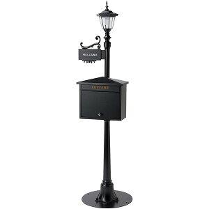 スタンドポスト 街路灯 置き型 ポスト おしゃれ 北欧 郵便受け スタンド 郵便ポスト 鍵付き 表札 LED アンティーク メールボックス ソーラーライト 光センサー ブラック セトクラフト SI-2613