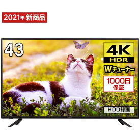 テレビ 43型 43インチ 4K対応 液晶テレビ メーカー1,000日保証 地上・BS・110度CSデジタル 外付けHDD録画機能 ダブルチューナー MAXZEN JU43TS02 V17d5p